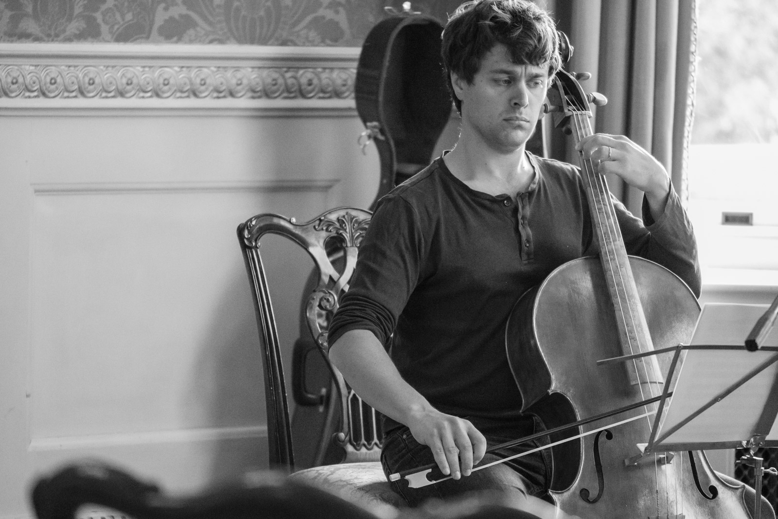 Shot of Jon Rees playing cello