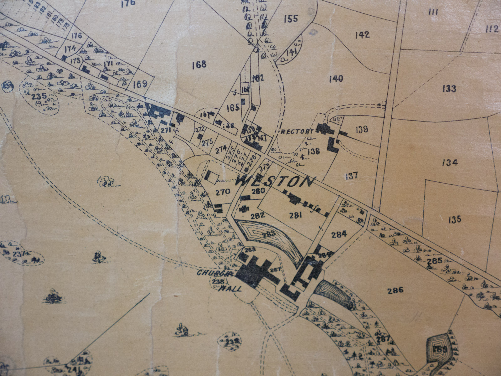 Old map of Weston Park found in one of the servants' rooms