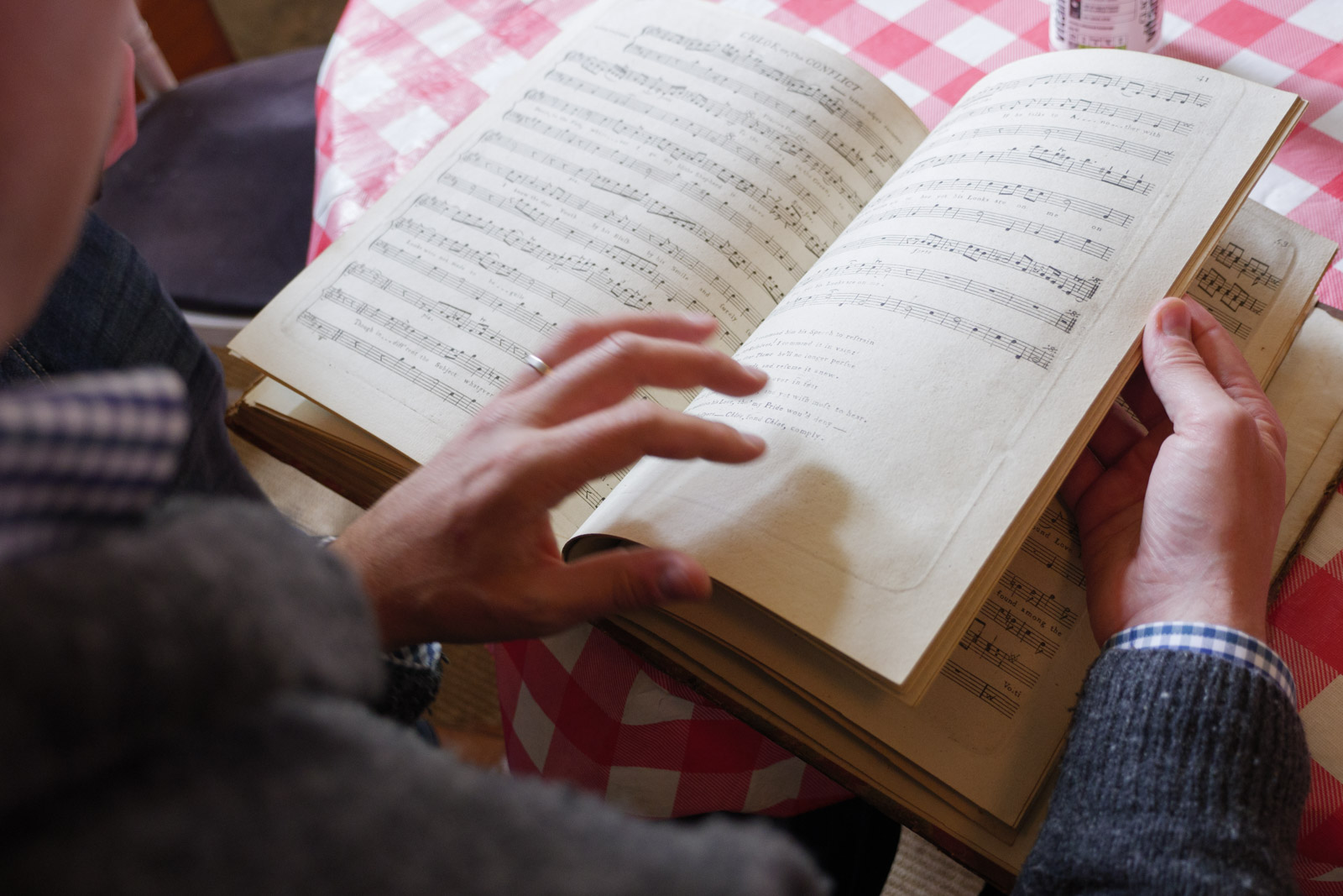 Martin Perkins examining an 18th century music copy