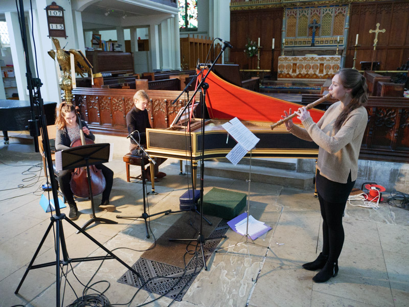 Carina Drury, Nat Mander and Olwen Foulkes playing during recording session
