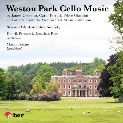 CD cover image for Weston Park Cello Music album - stately home set in wooded parkland with grazing sheep