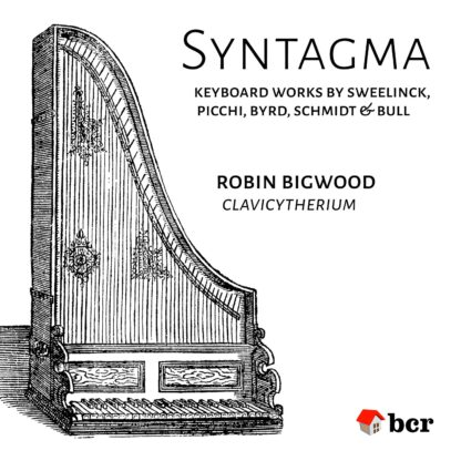 Syntagma product image, showing engraving of clavicytherium from Praetorius's Syntagma Musicum