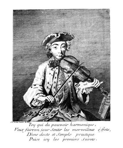 Engraved portrait of Michel Corrette, in trim-corner hat and fine clothes, holding a violin