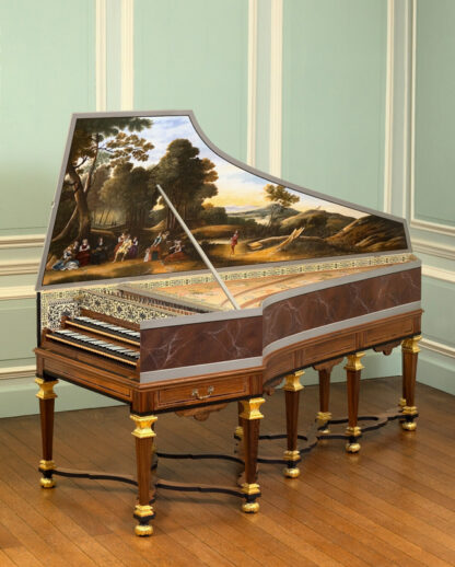 Double-manual harpsichord with large oil painting on the inside of its lid and an elaborate stand, in a panelled drawing room